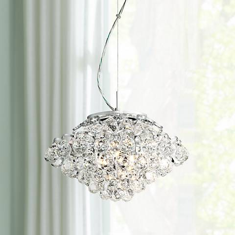 "Ringed 13"" Wide Crystal and Chrome Pendant Light"
