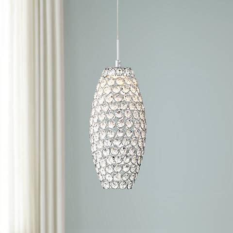 "Possini Euro Carlier 5 1/4""W Chrome LED Crystal Mini Pendant"