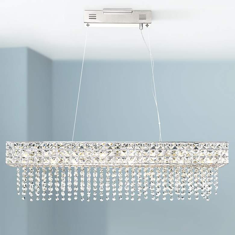 "Marais 36"" Wide Rectangular Crystal LED Island Pendant"