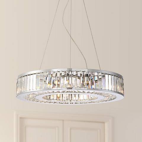 "Dana 24"" Wide 9-Light Chrome Donut Crystal Pendant Light"