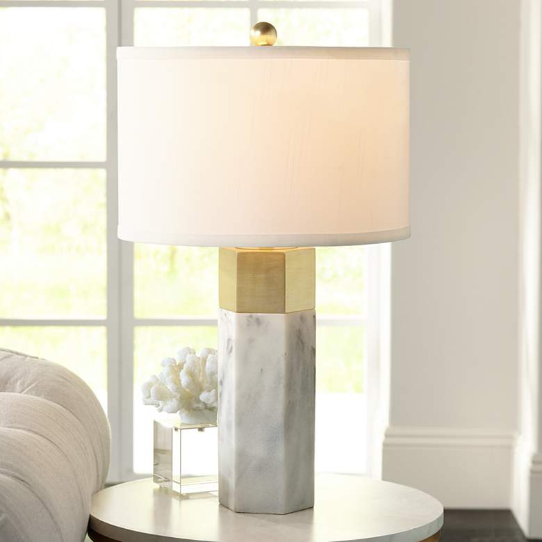 Possini Euro Leala Faux Marble Table Lamp