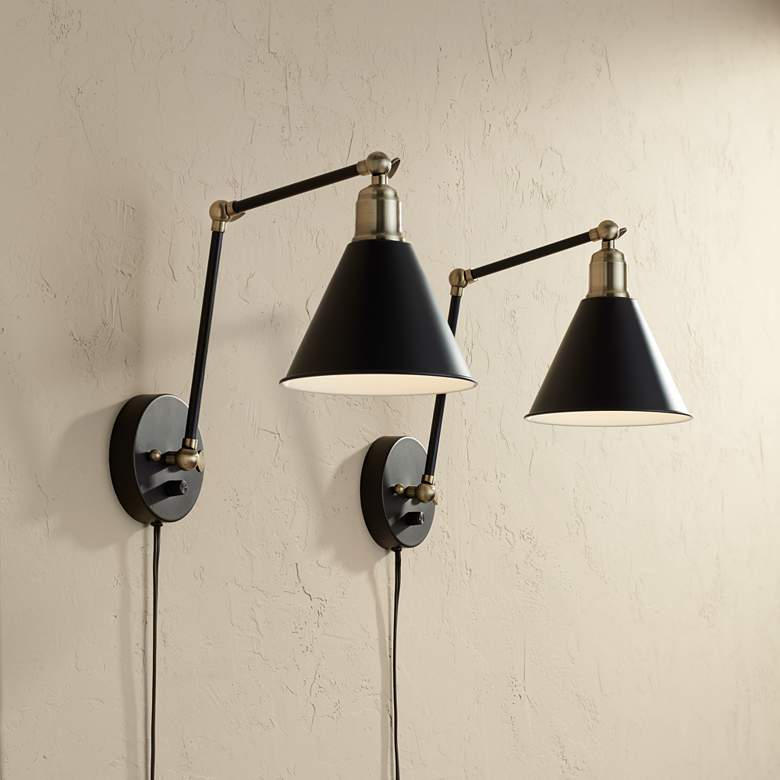 sale retailer fd8db 8e725 Wray Black and Antique Brass Plug-In Wall Lamp Set of 2
