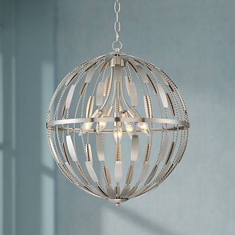 "Possini Euro Andes 20"" Wide Satin Nickel Orb Pendant"