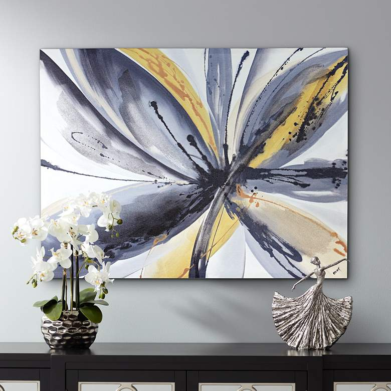 "Madeline 40"" Wide Abstract Floral Canvas Wall Art"