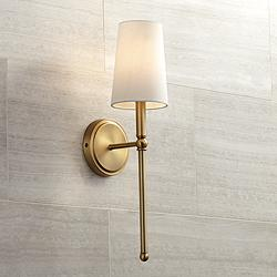"Greta 21"" High Warm Brass Wall Sconce with Linen Shade"