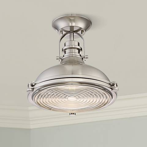 "Verndale 11 3/4""W Brushed Nickel Industrial Ceiling Light"