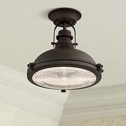 "Verndale 11 3/4"" Wide Bronze Industrial Ceiling Light"