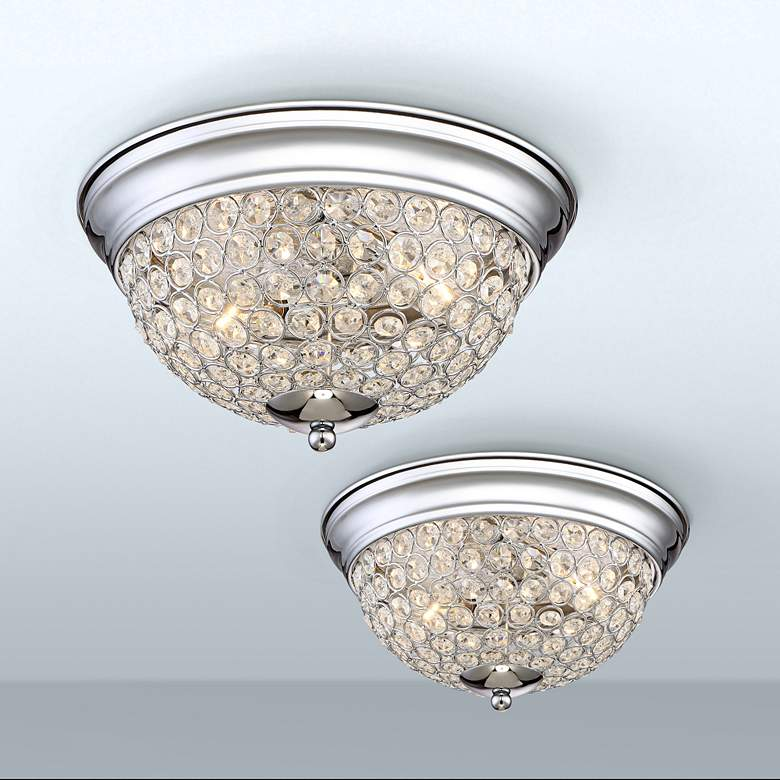 Possini Euro Faith Chrome-Crystal Ceiling Lights Set of