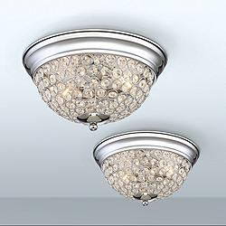 Possini Euro Faith Chrome-Crystal Ceiling Lights Set of 2