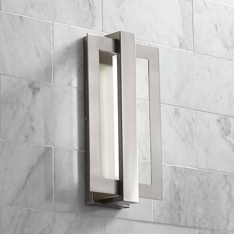 "Possini Euro Framed 16 1/4""H Brushed Nickel LED Wall Sconce"