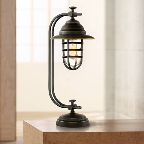 Franklin Iron Works Knox Oil-Rubbed Bronze Lantern Desk Lamp