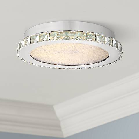"Possini Euro Chardin 14"" Wide Chrome LED Ceiling Light"