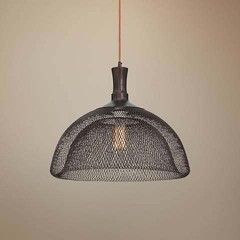 "Eurofase Filo 18"" Wide Bronze Pendant Light"
