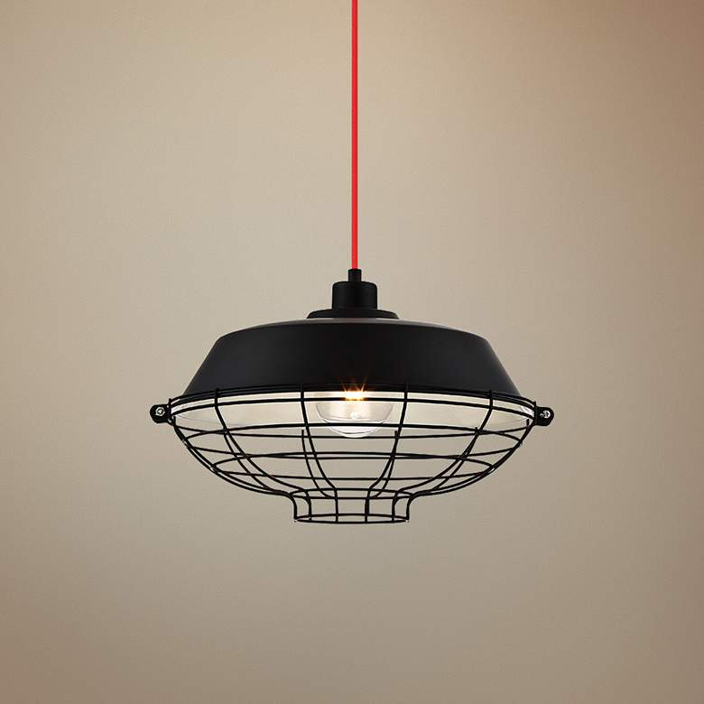 "Eurofase London 14"" Wide Black Pendant Light"