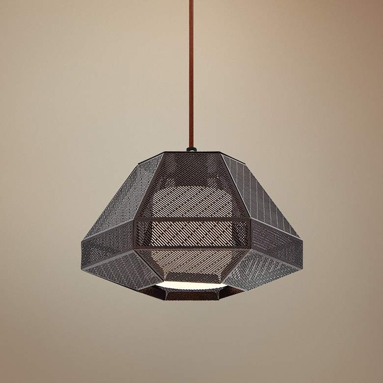 "Eurofase Recinto 12"" Wide Bronze Mini Pendant"