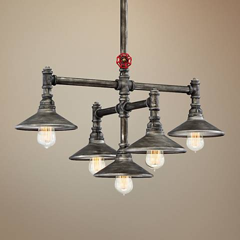 "Eurofase Zinco 29 1/2"" Wide Aged Silver 5-Light Pendant"