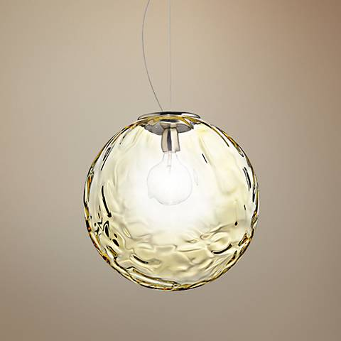 "Eurofase Borgo 13 3/4""W Chrome and Amber Glass Pendant Light"