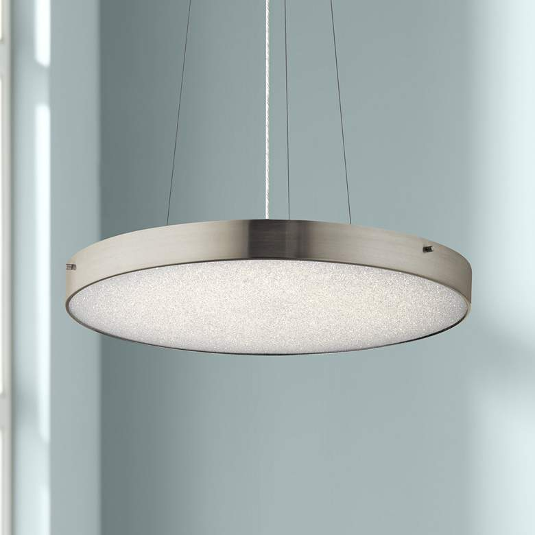 "Elan Crystal Moon 24""W LED Brushed Nickel Pendant"
