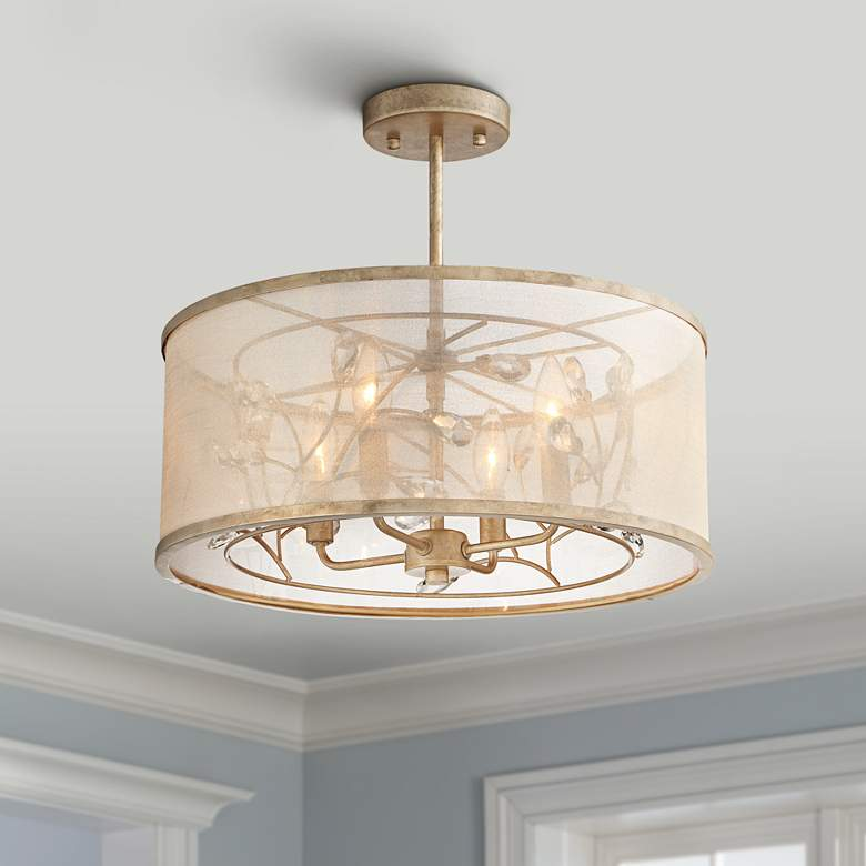 "Sara's Jewel 17"" Wide Champagne Silver Ceiling Light"