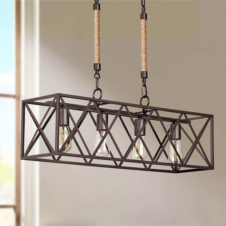 "Barron 29 1/4"" Wide Bronze Kitchen Island Light"