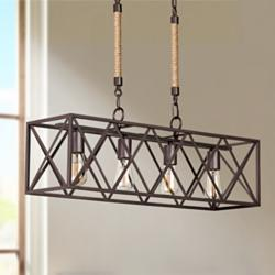 "Barron 29 1/4"" Wide Bronze Kitchen Island Light Chandelier"