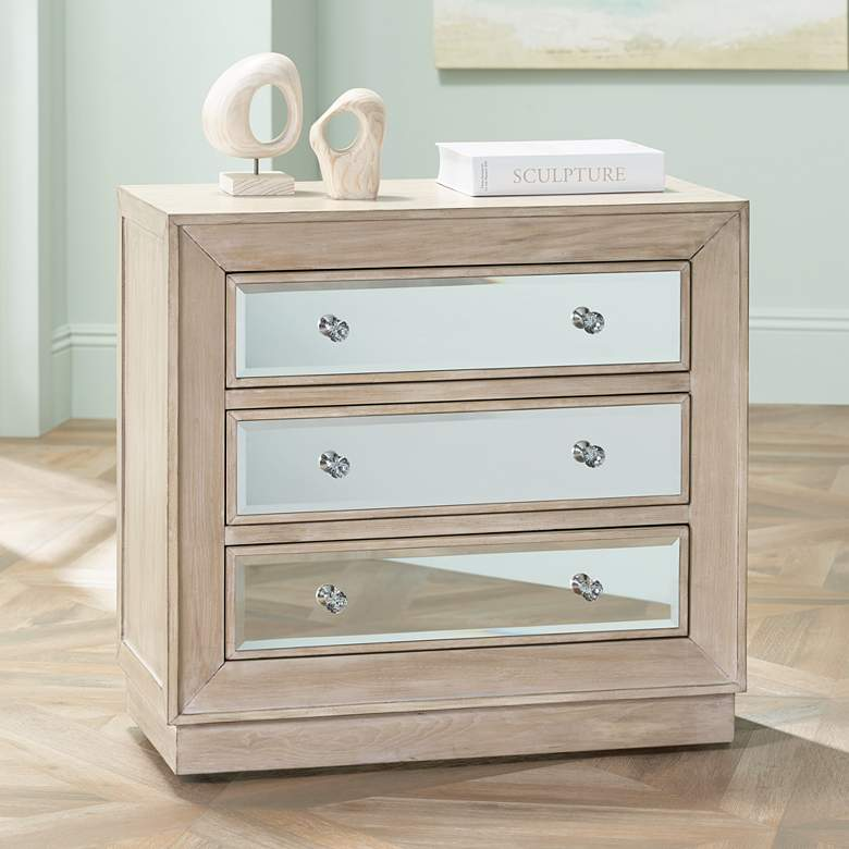 "Gabriella 32"" Wide Mirrored and Oak Wood Drawer Accent Chest"