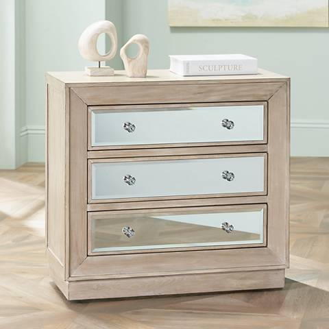 "Gabriella 32"" Wide Mirrored Oak Veneer 3-Drawer Accent Chest"