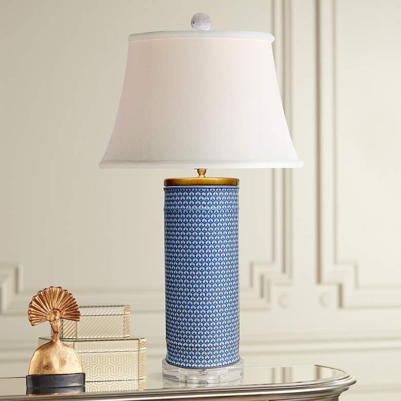 Country Blue Cylinder Porcelain Table Lamp