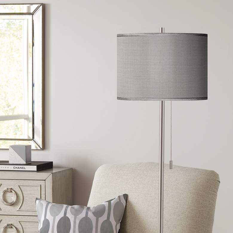 Gray Polyester Brushed Nickel Pull Chain Floor Lamp