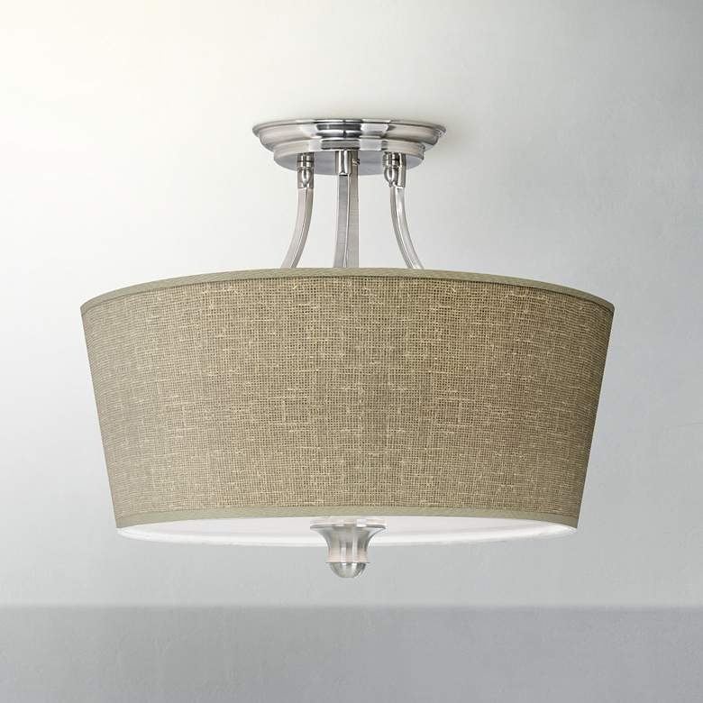 Burlap Print Tapered Drum Giclee Ceiling Light