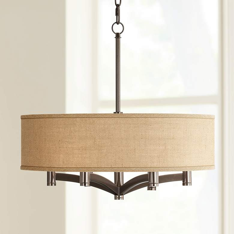 Woven Burlap Ava 6-Light Bronze Pendant Chandelier