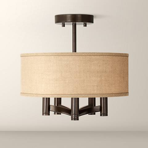 Woven Burlap Ava 5-Light Bronze Ceiling Light