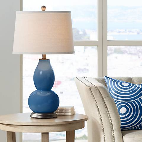 Regatta Blue Double Gourd Table Lamp