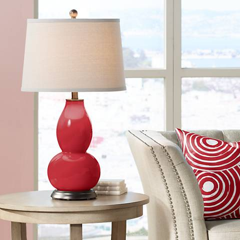 Ribbon Red Double Gourd Table Lamp