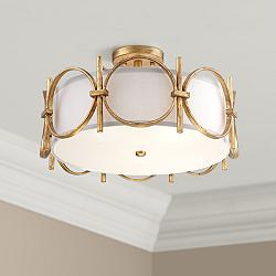 "Francis 18 1/4"" Wide Gold Drum Ceiling Light"