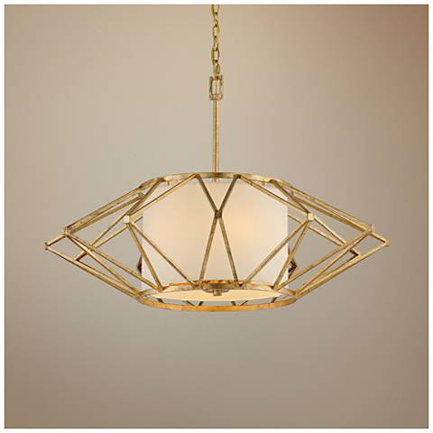 "Calliope 34"" Wide Rustic Gold Leaf Pendant Light"