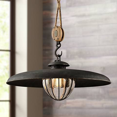 "Murphy 32"" Wide Vintage Iron Pendant Light"