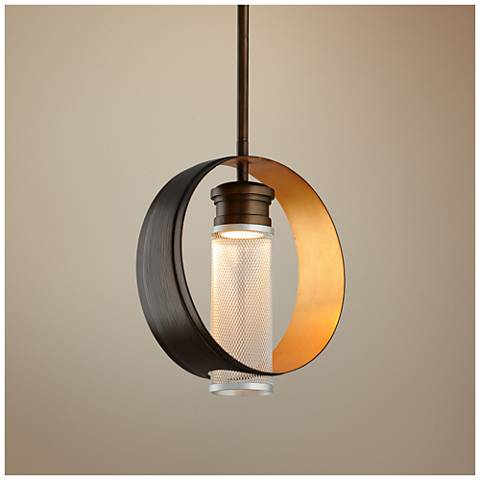 "Insight 12"" Wide Modern Bronze LED Mini Pendant"
