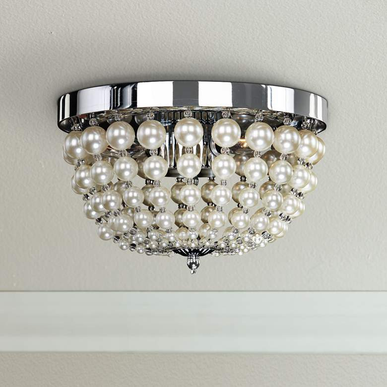 "Moscato 11"" Wide Chrome 3-Light Faux Pearl Ceiling"