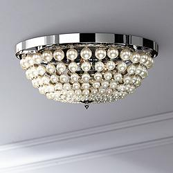 "Moscato 16 1/2"" Wide Chrome 5-Light Faux Pearl Ceiling Light"