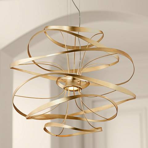 "Corbett Calligraphy 34""W Gold Leaf LED Pendant Light"
