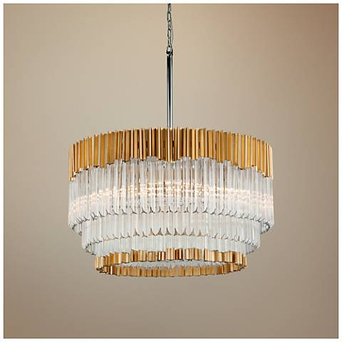 "Corbett Charisma 26"" Wide Gold Leaf Pendant Light"