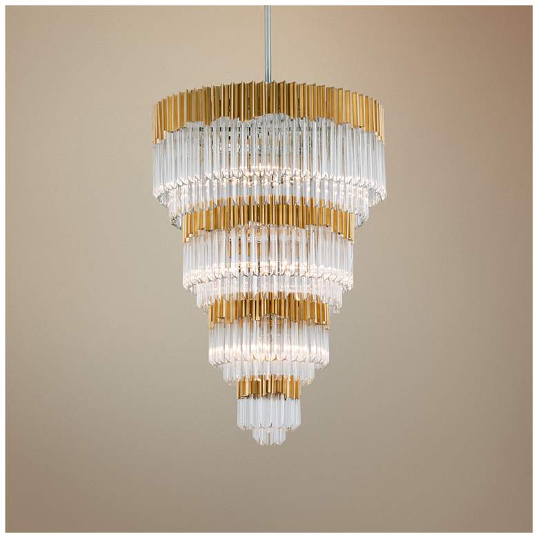 "Corbett Charisma 36"" Wide Gold Leaf Pendant Light"