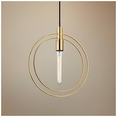 "Masonville 13 3/4"" Wide Aged Brass Pendant Light"