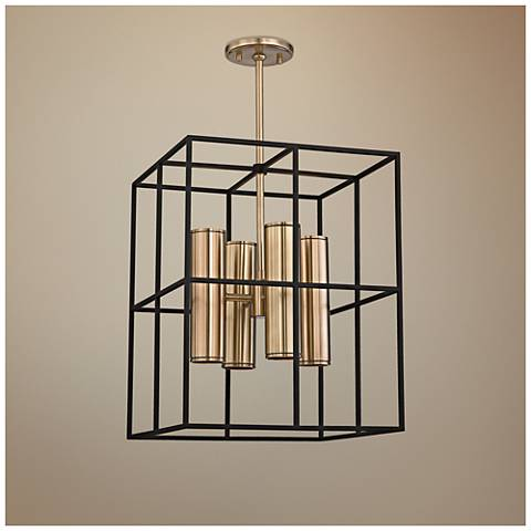 "Lagrange 18"" Wide Aged Brass and Black Pendant Light"