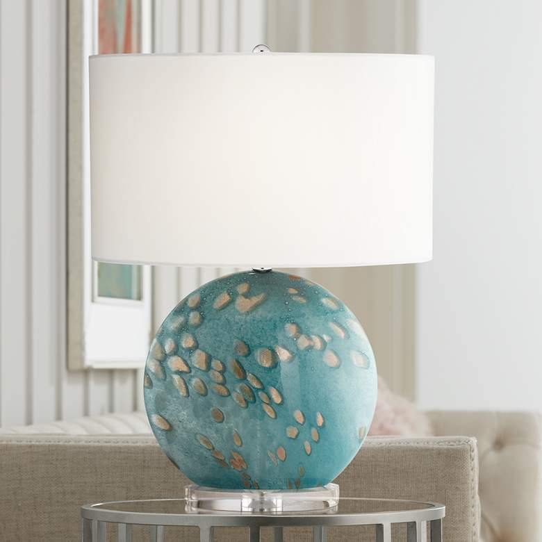 Calypso Blue Sea Round Art Glass Table Lamp