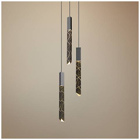 "Trinity 6"" Wide Polished Chrome LED Multi Light Pendant"