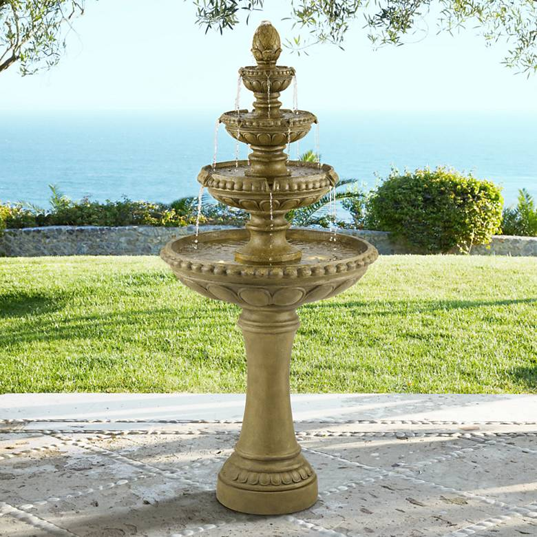 "Sag Harbor 60"" High Stone 4-Tier LED Outdoor Floor Fountain"