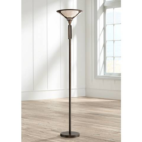 Samuel Oil-Rubbed Bronze Torchiere with Mica Shade