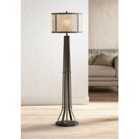 Winston Textured Bronze Industrial Floor Lamp Mica Shade